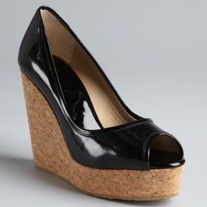 NWOB Jimmy Choo Black Leather & Cork Wedges Sz 8